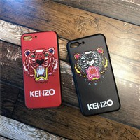 """Kenzo"" Unisex Personality Tiger Head Letter iPhoneX/8/6S Phone Hard Shell iPhone7 Plus Couple Apple Phone Case"