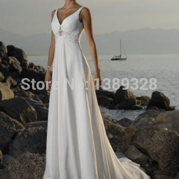 Sexy Wedding Dresses Beach Style Chiffon V Neck Empire Waist Backless Floor Length Sleeveless Ball  Bridal Gown