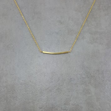 Bar Curved Gold Necklace