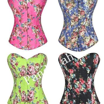 PEAPIX3 Pandolah Hot Selling Overbust Corsets Boned Bustiers Floral Print Women Sexy Lingerie 4 Colors S--XXL = 1929975876