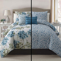 5pc Luxury Carolina Blue/ Ivory Reversible Comforter Set