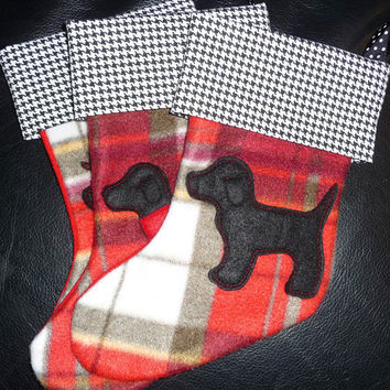 SALE Whimsical Dog Christmas Stockings, Canine Kids Gift in Red and White Plaid Stockings, Pet Dog Gifts