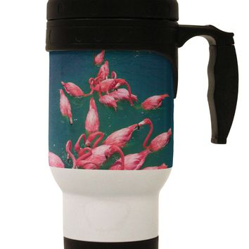 Bright Pink Painted Flamingos Stainless Steel 14oz Travel Mug All Over Print