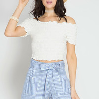Striped Shorts With Pockets & Tie Waist