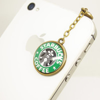 Retro Epoxy Transparent Gems Starbucks Coffee Charm Cell Phone Earphone Jack Anti dust Plug Charm for iPhone 4s,4g,5,5s,Samsung S4, HTC