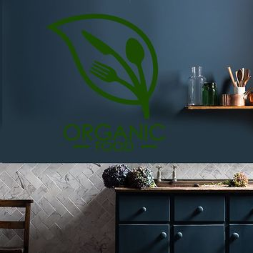 Vinyl Wall Decal Organic Food Logo Fork Spoon Knife Stickers (2294ig)