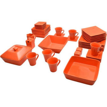 Bold Orange Elegant Square Banquet 45-Piece Dinnerware Serving Set