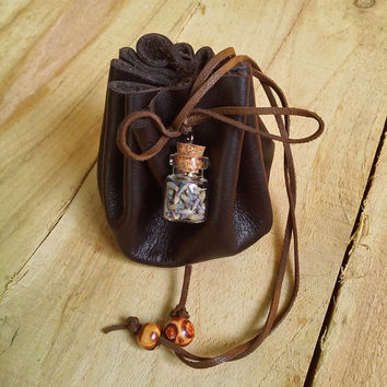 Leather drawstring pouch, Lavender leather pouch bag, Glass vial herbs pouch,  Coin purse, Wicca leather pouch, Crystal pouch, Amulet bag