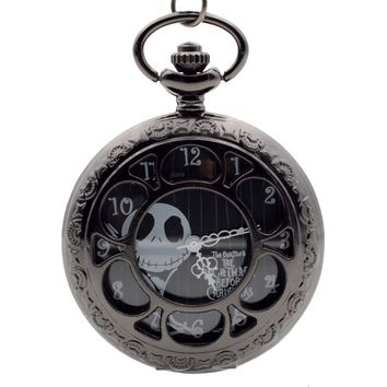 Tim Burton's The Nightmare Before Christmas Quartz Pocket Watch Analog Pendant Necklace Mens Womens Christmas Xmas Gift Chain
