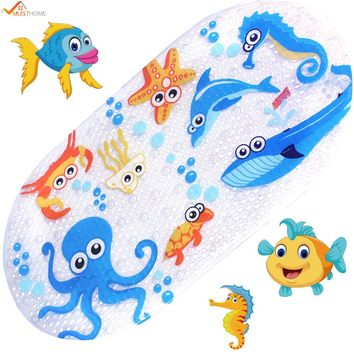 39cmx69cm Baby Bath Mat Anti-Slip PVC Cartoon Bathmats Tub Mat with Suction Cup Toddler Fish Bathtub Mat