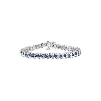 Diffuse Sapphire S Tennis Bracelet : 925 Sterling Silver - 3.00 CT TGW