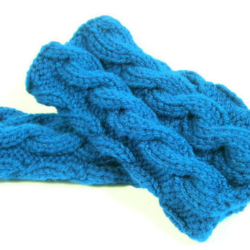 Blue Rodeo Unisex Cable Knit Fingerless Gloves or Boot Toppers, Knit Boot Cuffs, Gloves, Cuffs, Boot Toppers, Wrist Warmers,Womens Cuffs