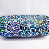 Glasses case Hand painting Blue decor
