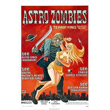 Astro Zombies Movie poster Metal Sign Wall Art 8in x 12in
