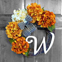 Fall Hydrangea Wreath - Halloween Wreath - Monogram Wreath - Wreathe - Autumn Wreath - Hydrangea Wreath - Fall Door Wreath - Halloween Decor