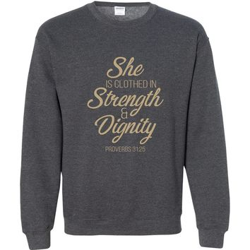 She Is Clothed Christian Crewneck Unisex Sweatshirt