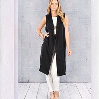 Collared Long Line Vest- Black