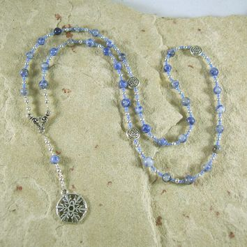 Cailleach Prayer Bead Necklace in Blue Agate: Gaelic Celtic Goddess of Winter and Storms