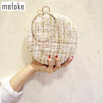 Meloke 2018 new style wool round shaped clutch bags luxury diamond handle wedding dinner bags with chain party bags