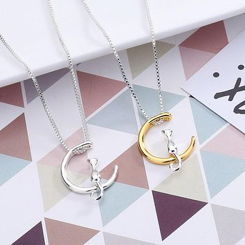 New Fashion Lovely Moon Cat Pendant Necklace  gold/silver color cute Pet animals Tiny Kitten necklace  jewelry gift for woman