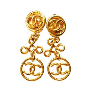 Pre-owned Chanel Gold CC Dangle Tier Clip On Earrings