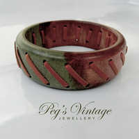 Vintage Wood And Leather Bangle/Green And Brown Wooden Bangle/Boho Bracelet Jewelry