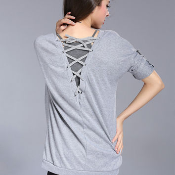 Strappy Back Half Sleeve Top