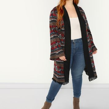 Plus Fringe Trim Geo Print Duster Coat