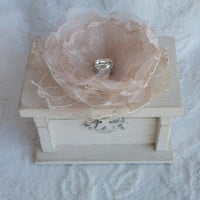 Beautiful Soft Ivory Wedding Ring BOx with Champagne Lace Ivory Organza Flower Rhinestone Personalized Hearts