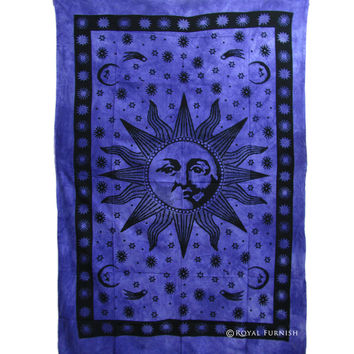Indian Tie Dye Fringed Purple Sun Wall Tapestry Bedspread Bedding