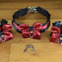 Red, Red Wine - Pet Play and BDSM Pleated Collar and Cuff Pair (2)