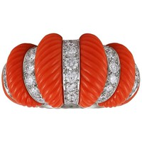 Museum Quality Cartier Paris Diamond Coral Bombe Ring
