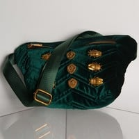 AKIRA Label Velvet Zip Up Belted Fanny Pack in Burgundy, Green