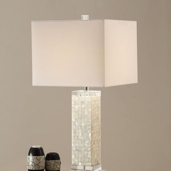 Modish Rectangular Shell Crystal Fabric Shade Table Lamp White Set of 2 By Poundex