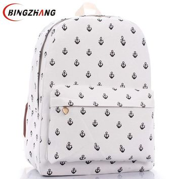 Unisex Canvas Teenager School Bag Book Campus Backpack Sea anchor bags Retail Free Shipping womens backpack Hot !!!  L4-72