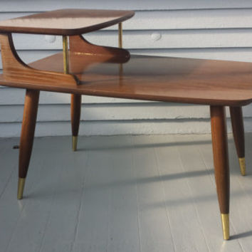 vintage end table step up mid century danish modern