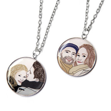 Custom pendant with the portrait of 2 people! Drawing, Unique gift for moms, dads, lovers, brothers, sisters, bride and groom...!