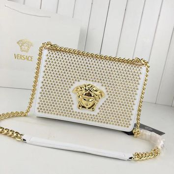 DCCK2 1210 Versace Medusa Logo Rivet organ bag Handbag white gold