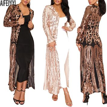Plus Size Spring 2018 Hot Summer Kimono Sexy Women Long Sequined Patchwork Lace Cardigan Chiffon Blouse Female Clothing