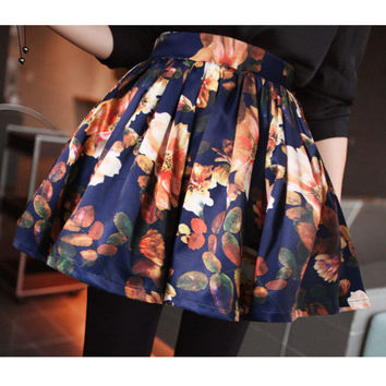 Vintage Floral Print Pleated Mini Skirt