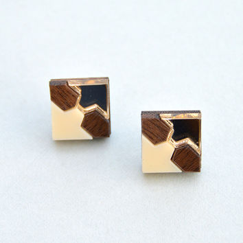 Mini Tile Stud Earrings in Walnut by Nylon Sky