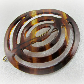 Vintage Hair Barrette Clip, FRENCH Hair Barrette, Faux Tortoise-Shell Hair Barrette, Celluloid Hair Barrette, 1970s Fashions, Hair Accessory