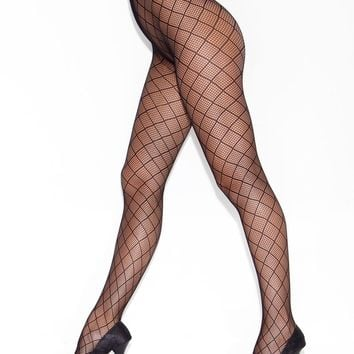 Diamond Fence Pantyhose (One Size,Black)