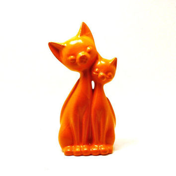 upcycled cat figurine  //  kitsch, orange, bright, cats, mod home decor, repurposed, vintage figurines, cute, colorful accents