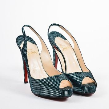 PEAP Christian Louboutin Turquoise and Black   No Prive   Slingback Pumps