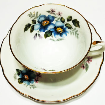 Vintage Royal Grafton Tea Cup, White with Blue Flowers, Gold, Wide Rim, Beautiful, Bridal Shower, Wedding Gift