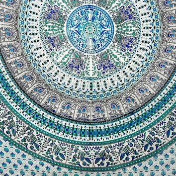 Handmade Elephant Mandala Tapestry 100% Cotton Dorm Tablecloth Bedspread Throw Beach Sheet Turquoise