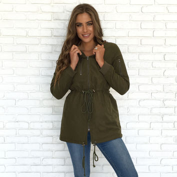 Down Comforter Jacket In Olive