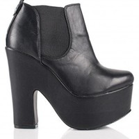 Jojo Block Wedge Heel Chelsea Boots in Black Leather - Footwear
