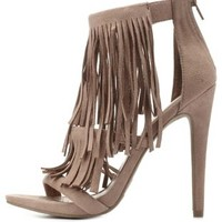 Taupe Three-Strap Fringe Heels by Charlotte Russe